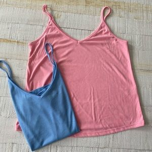 BP v-neck tank tops pink blue lot of 2 Small NWOT